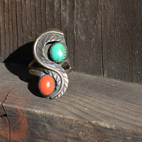Vintage Coral and Turquoise Ring // Vintage Native American Blue Green Turquoise Ring with Coral in Sterling Silver, Turquoise Yin-yang Ring