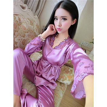 Hot Sale Ladis Silk Satin Pajama Set Embroidery Pyjama Set Long Sleeve Pijama Set Spring Autumn Sleeepwear Home Wear For Women