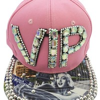 VIP MARILYN MONROE FLAT BILL SNAP BACK BLING PINK CAP