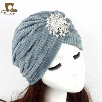 Free Shipping -  Diamond Jewel Turbante Stretch Velvet Turban Headband Great Hijab Indian Cap