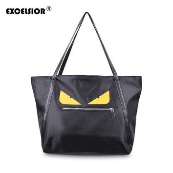 2017 Brand Designer Canvas Evil Monster Eyes Shopping Bag Zipper Large Capacity Tote ECO Single Shoulder Waterproof Nylon Bag