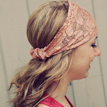 Peachy Tan Lace Headband