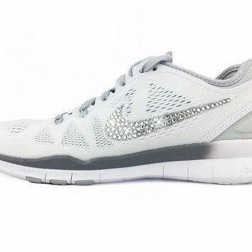 CREYWG5 CLEARANCE - Nike Free 5.0 TR Fit 5 - Crystallized Swarovski Swoosh - White/Silver