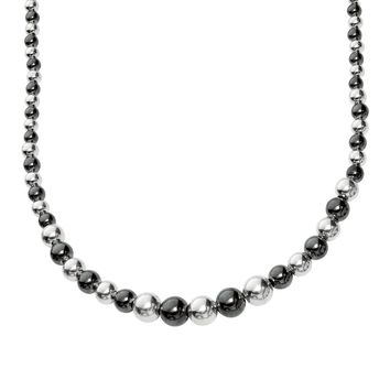 Silver with Rhodium+Ruthenium Finish 4.1-10.2mm Shiny Alternate Black+White Graduated Beaded Necklace with Lobster Clasp