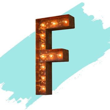 "12"" Letter F Lighted Vintage Marquee Letters (Modern Font/Rustic)"