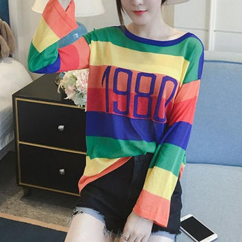 "New Summer fashion temperament female weave Stripe ""1980"" long sleeve CARDIGAN -0705"