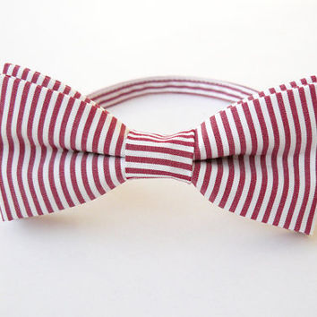 Mens bow tie freestyle groom wedding hipster classic retro necktie chic handmade gift for him by Bartek Design - Cherry Red White Striped