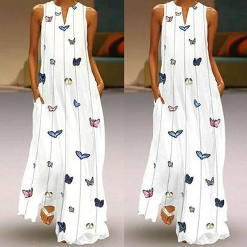 Fashion Butterfly Print Long Dress For Women