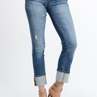 Distressed Straight Cuffed Leg Jeans