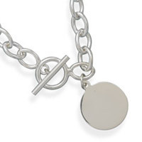 17in Toggle Necklace with 21mm Round Tag
