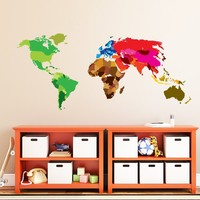 MADE IN THE USA - Wall Decal World Maps Full Color Multicolor Decor Wall Colorful Map Of The World Sticker For School Room Office Colored Decorations Walls DD118
