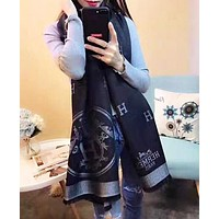 Hermes Autumn And Winter Fashion Letter Print Scarf Women