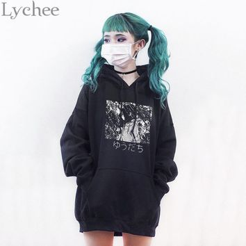 Lychee Harajuku Gothic Punk Women Sweatshirt Japanese Anime Manga Print Hoodies Casual Loose Long Sleeve Tracksuit