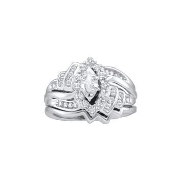14kt White Gold Women's Marquise Diamond Bridal Wedding Engagement Ring Band Set 1/2 Cttw - FREE Shipping (US/CAN)