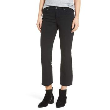BLANKNYC Denim Women's Black Canvas Cropped Kick Flare Jeans