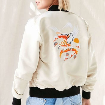Urban Renewal Recycled Embroidered Satin Bomber Jacket - Urban Outfitters