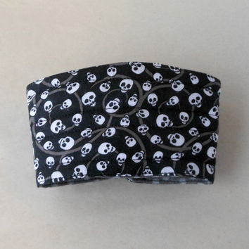 Skulls Coffee Cup cozy sleeve, Insulated, Black , White and Gray