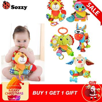 Sozzy Multifunctional Baby Toys Rattles Mobiles Soft Cotton Infant Pram Stroller Car Bed Rattles Hanging Animal Plush Toys