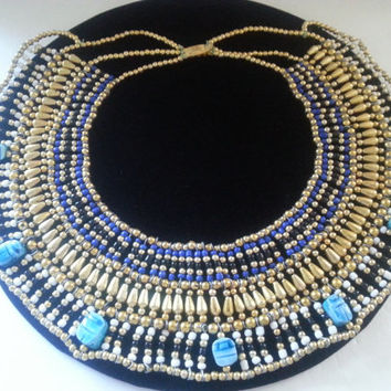 Huge Bib Necklace, Vintage Statement Necklace, Beaded Bib Necklace, Tribal Ethnic Scarab Style Jewelry, 1960's 1970's Jewelry