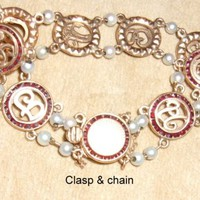 """Antique Garnet and Pearl 14K Gold Chain """"I Love You"""" Bracelet~Price Flexible"""