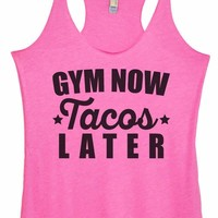 Womens Tri-Blend Tank Top - Gym Now Tacos Later