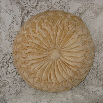 mid century pillow round tufted pillow pleated pillow velvet 15 inch round earthtone color fall decor