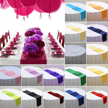 Satin Table Runner For Wedding Party Event Banquet Home Table Decoration Supply Table Cover Tablecloth Accessories 30cm x 275cm