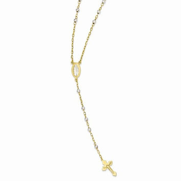 14k Two-tone gold 16 inch Rosary Necklace