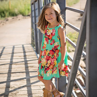 Girls Floral Draped Tank Dress Mint