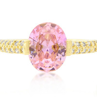 Harla Pink Oval Cut Gold Ring | 2.2ct | Cubic Zirconia | 18k Gold
