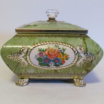 Decorative  Tin Box Daher Tin Footed Tin Veined Design Marbleized