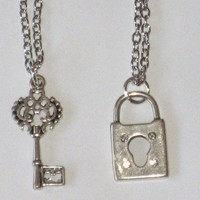 Decorative Lock and Key Charm Friendship Necklaces for Best Friends