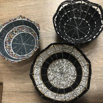 Hand Beaded Wire Decorative Bowls