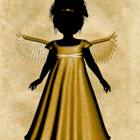 Gold Angel Image, Silhouette Angel Poster, Angel Wall Art, Angel Print, Silhouette Angel Print,Angel Wall Décor,Kids Room,Baby Room, Poster