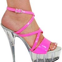Neon Pink Strappy Pole Dancers Shoe