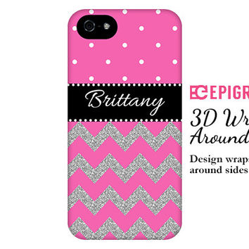 Personalized iPhone 6 case, pink chevron iPhone 6 plus case, glitter iphone 5c case, iPhone 5s case, iPhone 4s case, Galaxy S5 case
