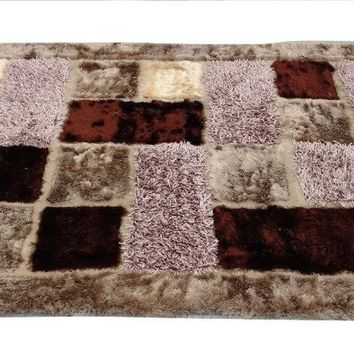 "Super Soft Shaggy Plush 3-D Checkered Squares Mosaic Coffee Brown Print Motif All Area Rug Carpet Mat - 55"" x 78"""