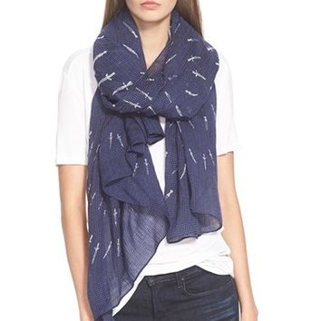 Women's rag & bone 'Dagger Dot' Wool Scarf - Blue