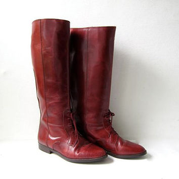 Vintage Oxblood Red Leather Equestrian Riding Boots. Italian Leather Boots. Lace up Tall Oxford boots. womens size 6 6.5