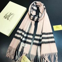 Burberry fashion hot selling women casual cashmere stripe fringed shawl scarf