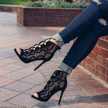 Women Pumps High Heels Cut Outs Lace Up Open Toe Party Shoes Woman Gladiator Sandals