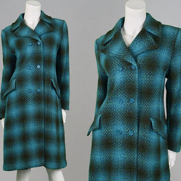 Vintage 70s Blue Plaid Coat Wool Blend Womens Peacoat Womens Wool Coat Teal Blue Mod Coat Double Breasted Blue and Black Checked Coat 1970s