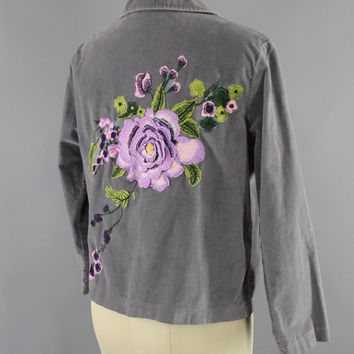 SALE - Grey Velvet Embroidered Jacket / Lavender Purple Floral Embroidery / Size 6 Medium M