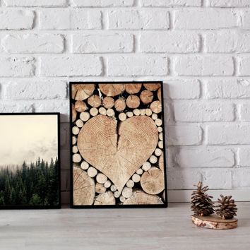 rustic print, wooden heart, wall art, woodland, photography, wood art, love print, romantic decor, cabin decor, instant download, printable