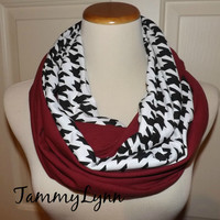 NEW!! Black and White Houndstooth and Solid Maroon 2 Pair Team Scarves Jersey Knit Infinity Alabama ROLL TIDE Game Day