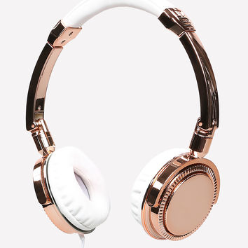 bebe Womens Metallic Headphones Rose Gold