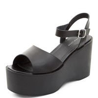 Black Platform Wedge Sandals