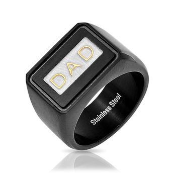 Mens DAD Word Black Band Square Signet Ring Stainless Steel