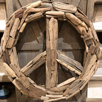 Driftwood Peace Sign Wreath -- 19-in