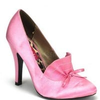 Baby Pink Satin Loafer Style Bow Tie Heels @ Amiclubwear Heel Shoes online store sales:Stiletto Heel Shoes,High Heel Pumps,Womens High Heel Shoes,Prom Shoes,Summer Shoes,Spring Shoes,Spool Heel,Womens Dress Shoes,Prom Heels,Prom Pumps,High Heel Sandals,Ch